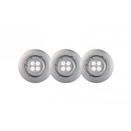 3 SPOTS FOCUS ENCASTR. ROND LED GRIS