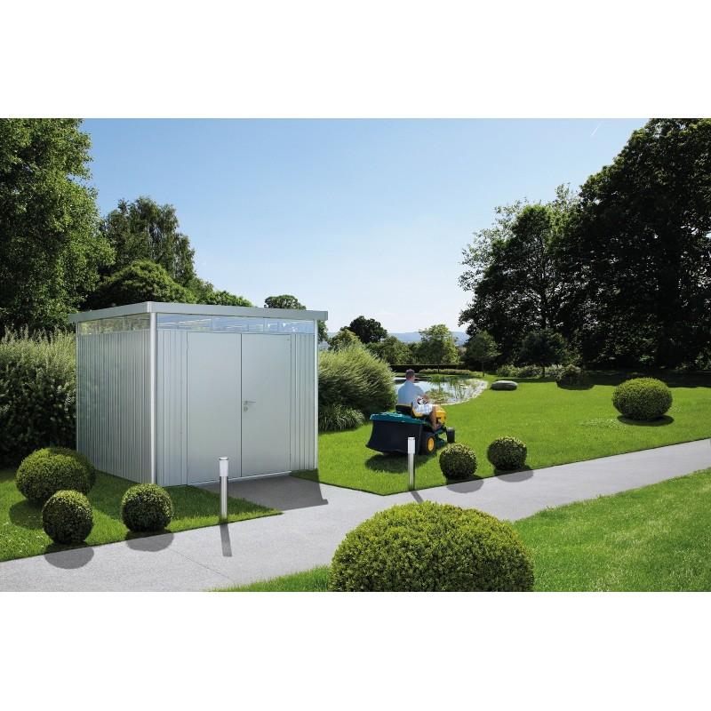 Abri de jardin highline gris m tallique biohort hoffmann 39 s for Porte metallique jardin